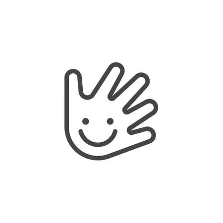 Thin Outline Icon Hand and Smile. Such Line sign as Fine Motor Skills, Preschool Learning, or Daycare. Vector Computer Custom Isolated Pictograms , for Web on White Background Editable Stroke.