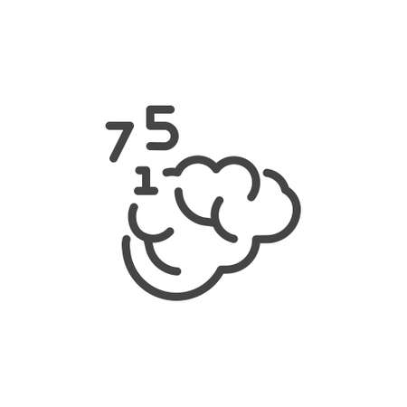 Thin Outline Icon Human Memory, Counting or Mathematical Calculating. Such Line sign as Human Brain and Numbers. Vector Computer Isolated Pictograms EPS 10 for Web on White Background Editable Stroke.