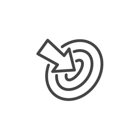 Thin Outline Icon Target and Arrow Pointer. Such Line sign as Focusing Attention or Concentration Attention, Aim and Goal. Vector Isolated Pictograms for Web on White Background Editable Stroke
