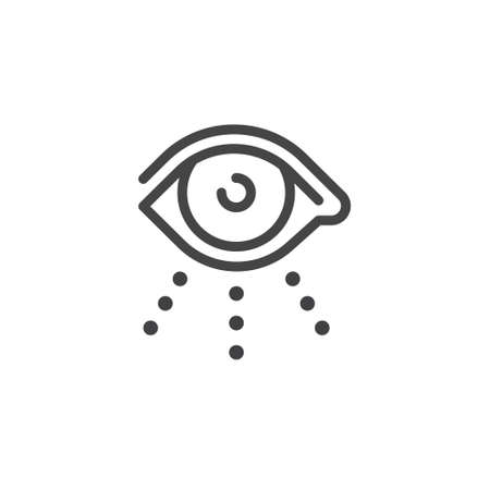 Thin Outline Icon Open Human Eye, Eyeball. Such Line sign as Visual Perception, Eyecare or Oculist and Eyesight. Vector Computer Isolated Pictograms EPS 10 for Web on White Background Editable Stroke. Illustration