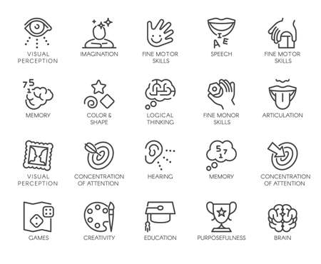 Premium Icons Pack on Human Cognitive Abilities and Preschool Development of Children. Such Line Signs as Fine Motor Skills, Articulation. Vector Icons Set for Web and App in Outline Editable Stroke.