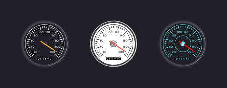 Set of three vector isolated speedometers for dashboard. Circular gauge with arrow or pointer for vehicle panel, Device for measuring speed and automotive speedometer, web download speed sign. Illustration