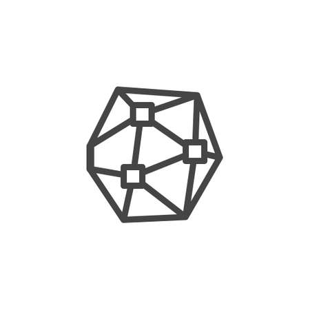 Icon on 3D modeling and Visualization. Such Line Sign as Geometric 3D Object With Connected Lines and Dots, Wireframe Polygonal Element. Vector Icon for Web and App in Outline Editable Stroke.