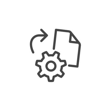 Icon on Reverse Engineering, Reverse Development. Process of Restoring Sources From the Final Product. Such Line Sign as Gear and Drawing. Vector Icon for Web and App in Outline Editable Stroke.