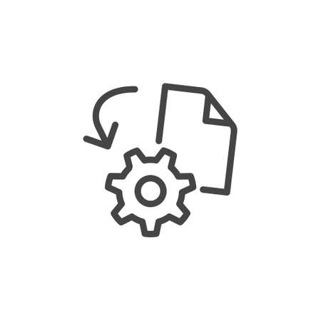Icon Engineering also Engineering Activities and Technical Activities Modeling and Visualization Creation Product According to Drawing. Line Sign Gear and Drawing. Vector Icon Outline Editable Stroke.
