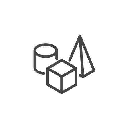 Icon on Composition, 3D Modeling and Visualization, Prototyping. Such Line Sign as Still life, Set of Geometric Shapes. Cube, Ellipse, Pyramid. Vector Icon for Web and App in Outline Editable Stroke. 矢量图像
