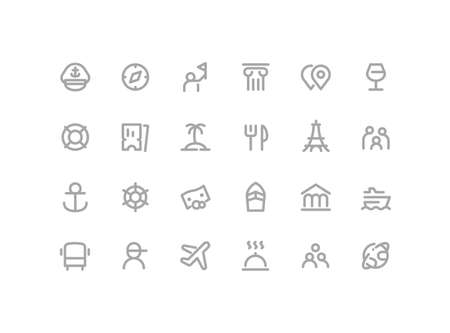 Premium Icons Pack on Travel and Tourism, Cruise Options, Tour. Such Line Signs as Guide, Flights, Excursions, Beach, Tickets. Vector Thin Icons Set for Web and App in Outline Style Editable Stroke. 矢量图像