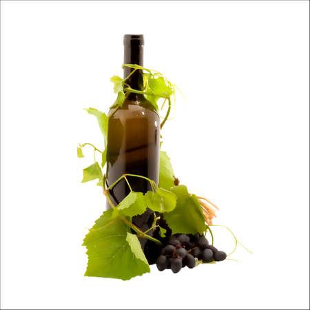 winetasting: Bottle with wine isolated on white.