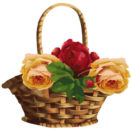 english countryside: Beautiful watercolor basket with roses. Illustration