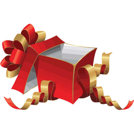 Red gift box with ribbon and bow.