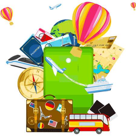 duffel: Travel concept, Isometric , flat vector illustration insurance