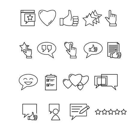Simple Set of Testimonials Related Vector Line Icons.  Contains such Icons as Customer Relationship Management, Feedback, Review, Emotion symbols and more