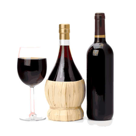 Red Wine bottle and glass on white background Illustration