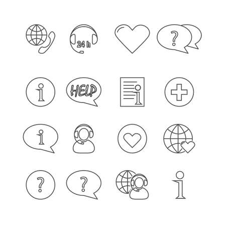 enable: Information and notification thin icons, included normal and enable state. Illustration