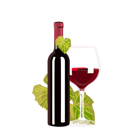 red wine bottle: Red Wine bottle and glass on white background Illustration