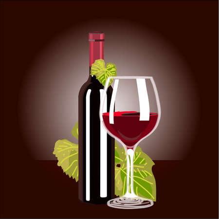 red wine glass: Red Wine glass and Bottle. Illustration