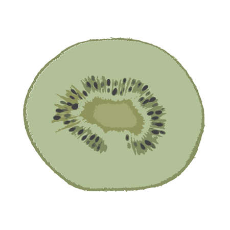 sweet pulp: Cross section of ripe kiwi isolated on white background