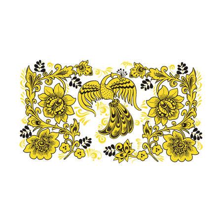 Flower pattern with elements of folk Khokhloma style. Vector illustration. Illustration
