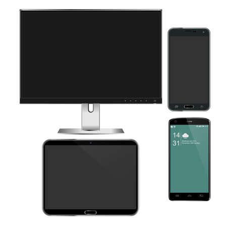 electronic gadget: Set of realistic computer monitor, tablet and mobile phone with empty white screen. Various modern electronic gadget isolated on white background. Vector illustration EPS10