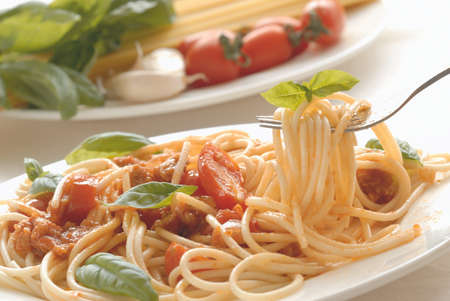 marinara sauce: Traditional spaghetti pasta with meat in a beautiful plate. Stock Photo