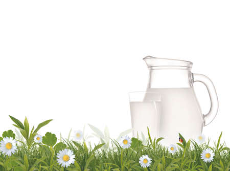 Fresh milk jug and glass with green meadow