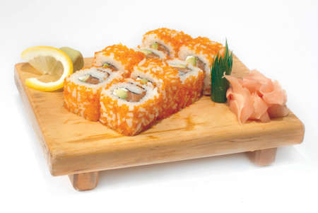 susi: Sushi on a wooden tray isolated on white background