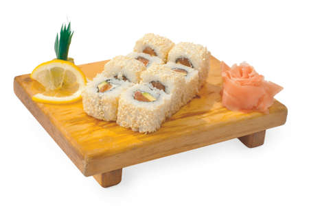Sushi on a wooden tray isolated on white background