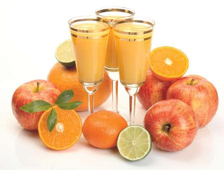 Fresh citrus juices and fruits isolated on white background