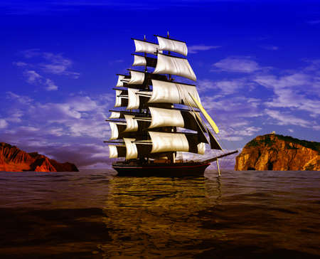 Sailing boat on the sea and blue sky.