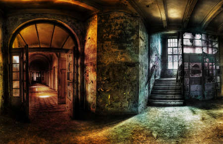 abandoned room: old abandoned room of rays of light through the window. The old mysterious building Stock Photo
