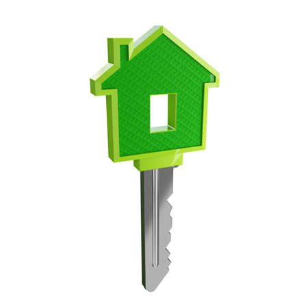 Real estate agent with house model and keys Stock Photo