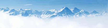 Panoramic view of beautiful winter wonderland mountain scenery Stock Photo