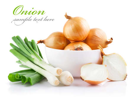 cos: Onion and green onion isolated on a white background. Natural products.