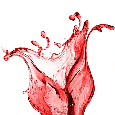 Red juice splash isolated on white background