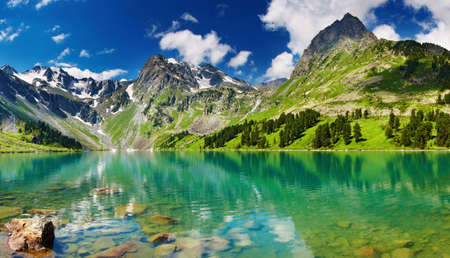 ecosistema: Paisaje de montaña, cielo azul, bosque y lago
