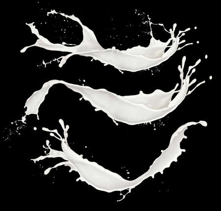chocolate swirl: Milk natural white Splash isolated on black background