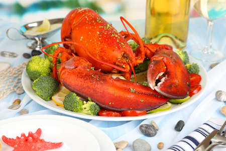 Big Red lobster on a platter with green-stuff. Lobster on a platter with green-stuff as fresh seafood or shellfish food concept as a complete red shell crustacean.