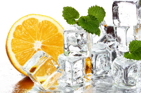 coolness: a slice of lemon, ice cube, mint leaves. The concept of freshness and coolness.