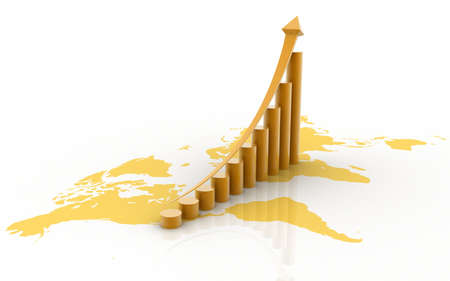 3d business statistics in white background with world map on floor