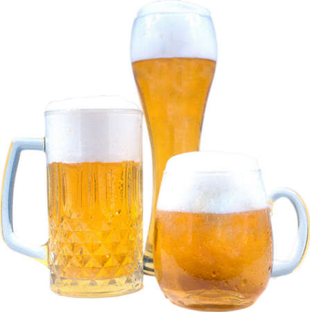 Beer mug with foam. Isolated on a white background.