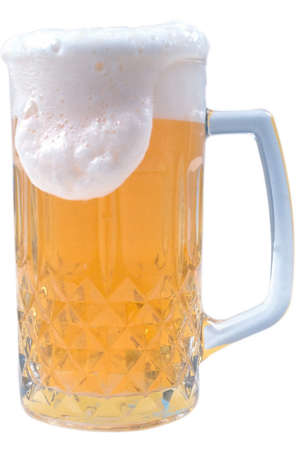 tankard: Beer mug with foam. Isolated on a white background.