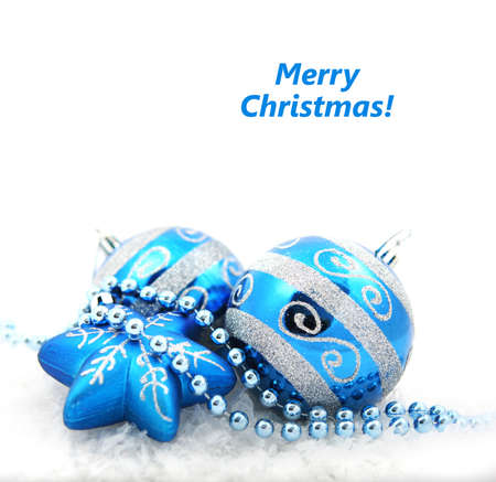 Blue Christmas Toys isolated on a white background. Christmas toys.