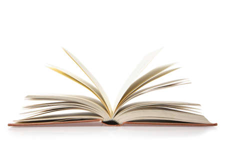 Open book lies isolated on a white background.
