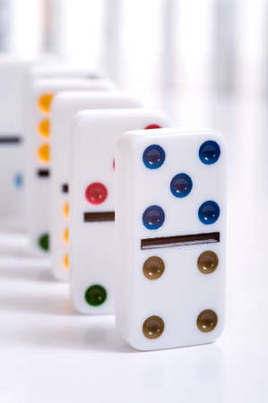 The game of dominoes. Dice Domino. Accessories for games Stock Photo