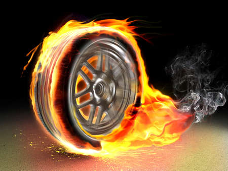 traction: Car racing spinning wheel burns rubber on fire.