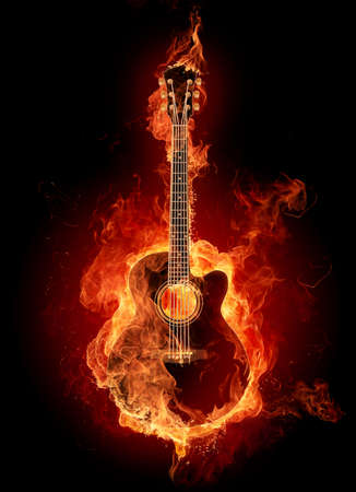 flammable: Burning rock electric guitar. Isolated on black background