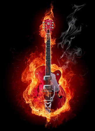 Burning rock electric guitar. Isolated on black background