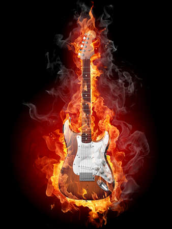 Burning rock electric guitar. Isolated on black background