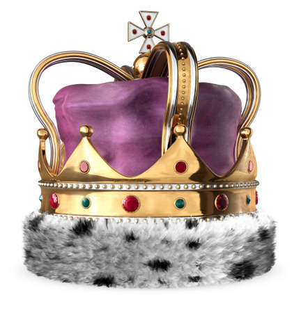jeweled: Royal Imperial Crown gold isolated on a white background.