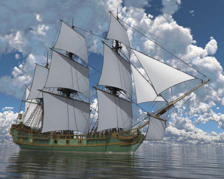 3D Illustration Old Sailboat On The Sea Stock Photo